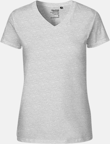 Sports Grey (dam) Eko bas t-shirts Fairtrade med djup v-ringning med reklamtryck