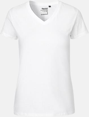 Vit (dam) Eko bas t-shirts Fairtrade med djup v-ringning med reklamtryck