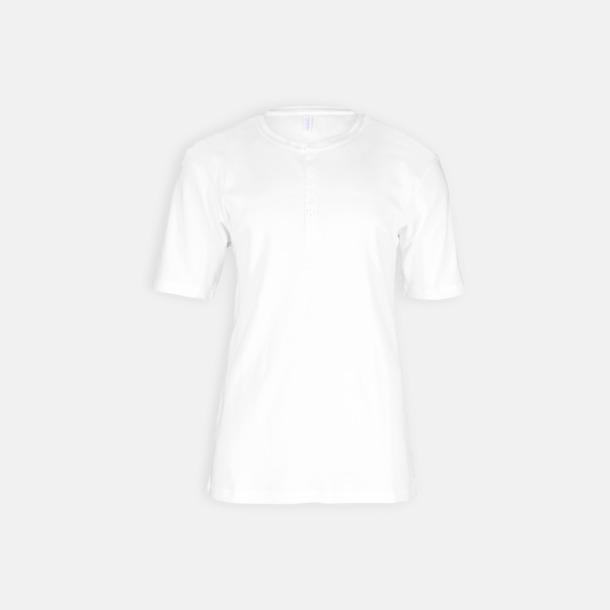 Vit Eko & Fairtrade-certifierade t-shirts med knäppning - med reklamtryck