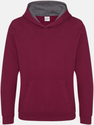 Burgundy/Charcoal (heather) Varsity Hoodie Contrast i barnmodell med reklamtryck