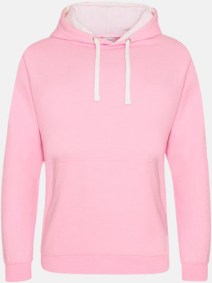 Baby Pink/Arctic White Varsity Hoodie Contrast i barnmodell med reklamtryck