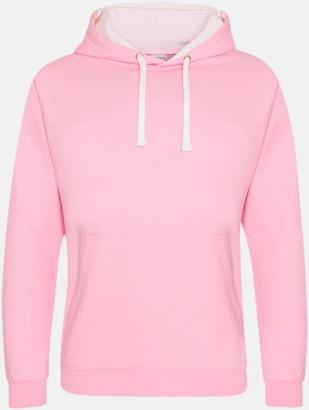 Baby Pink/Arctic White Huvtröjor med insida av luva och dragsko i kontrasterande färg - med reklamtryck