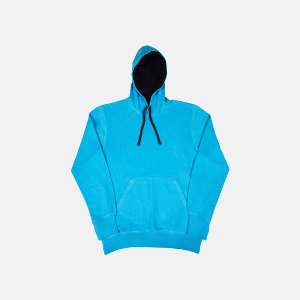 Turkos/Marinblå (herr) 2-färgade huvtröjor för herr, dam & barn med reklamtryck