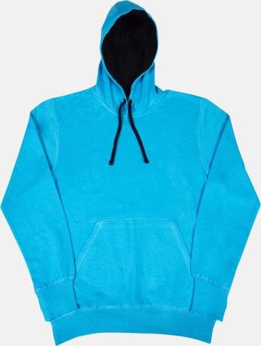 Turkos / Marinblå 2-färgade huvtröjor för herr, dam & barn med reklamtryck