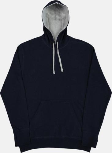 Marinblå/Light Oxford 2-färgade huvtröjor för herr, dam & barn med reklamtryck