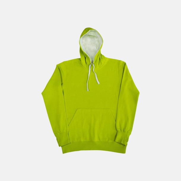 Lime/Vit (herr) 2-färgade huvtröjor för herr, dam & barn med reklamtryck