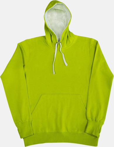 Lime/Vit 2-färgade huvtröjor för herr, dam & barn med reklamtryck