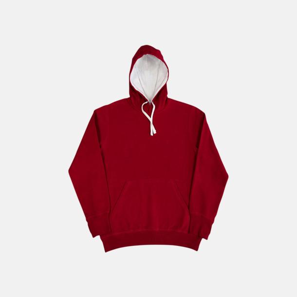 Röd/Vit (herr) 2-färgade huvtröjor för herr, dam & barn med reklamtryck