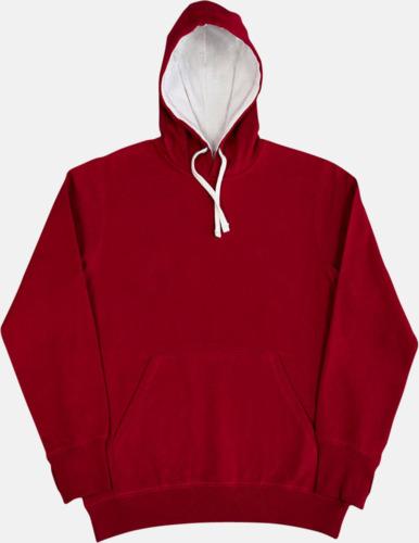 Röd / Vit 2-färgade huvtröjor för herr, dam & barn med reklamtryck