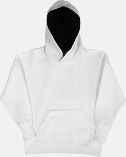 Vit/Marinblå (barn) 2-färgade huvtröjor för herr, dam & barn med reklamtryck