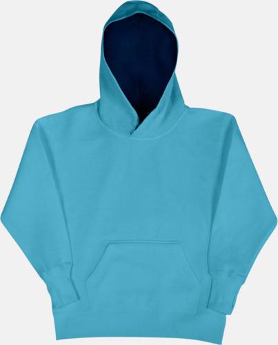 Turkos/Marinblå (barn) 2-färgade huvtröjor för herr, dam & barn med reklamtryck
