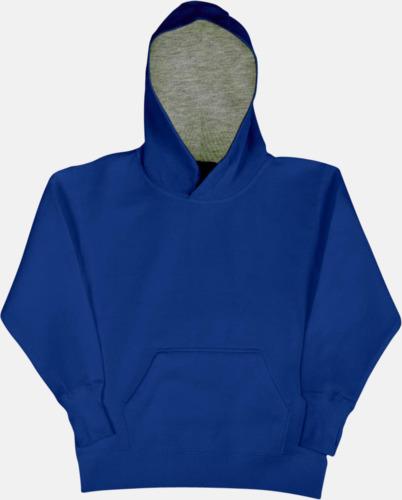 Royal/Light Oxford (barn) 2-färgade huvtröjor för herr, dam & barn med reklamtryck