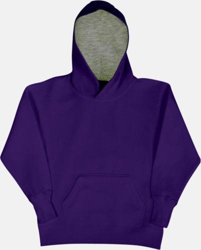 Lila/Light Oxford (barn) 2-färgade huvtröjor för herr, dam & barn med reklamtryck