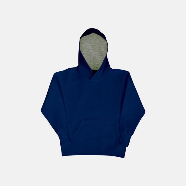 Marinblå/Light Oxford (barn) 2-färgade huvtröjor för herr, dam & barn med reklamtryck