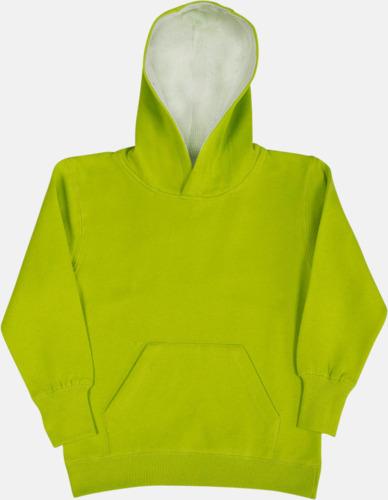 Lime/Vit (barn) 2-färgade huvtröjor för herr, dam & barn med reklamtryck