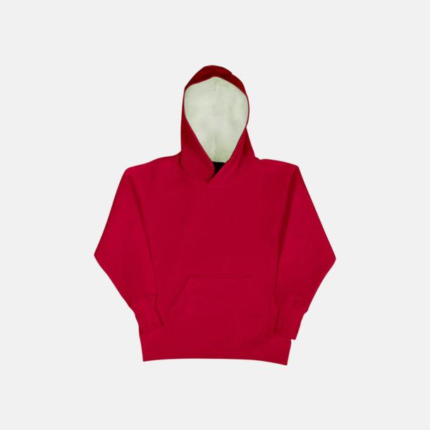 Röd/Vit (barn) 2-färgade huvtröjor för herr, dam & barn med reklamtryck