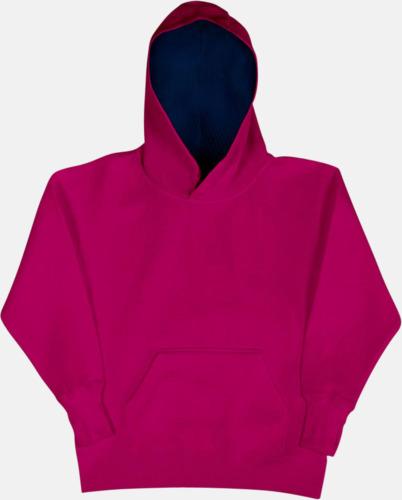 Mörkrosa/Marinblå (barn) 2-färgade huvtröjor för herr, dam & barn med reklamtryck