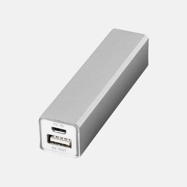 Silver Powerbanks med snabb leverans - med reklamtryck