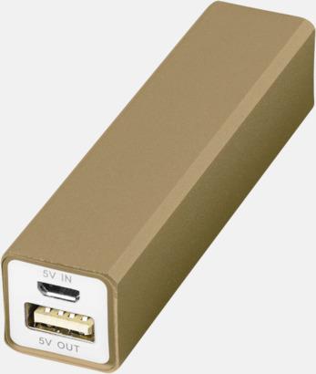 Guld Powerbanks med snabb leverans - med reklamtryck
