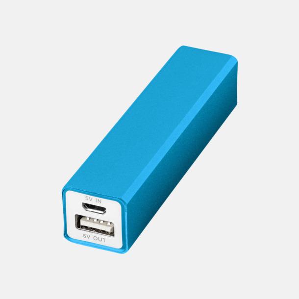 Ljusblå Powerbanks med snabb leverans - med reklamtryck
