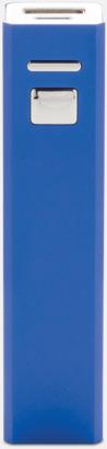 Blå Fina powerbanks i aluminium med reklamtryck