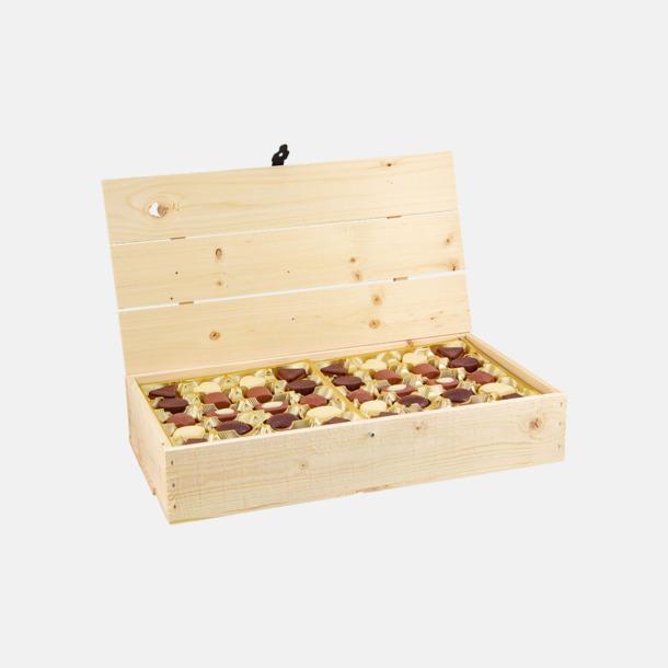 Stor 800 gram Belgiska praliner i trälådor med reklamtryck