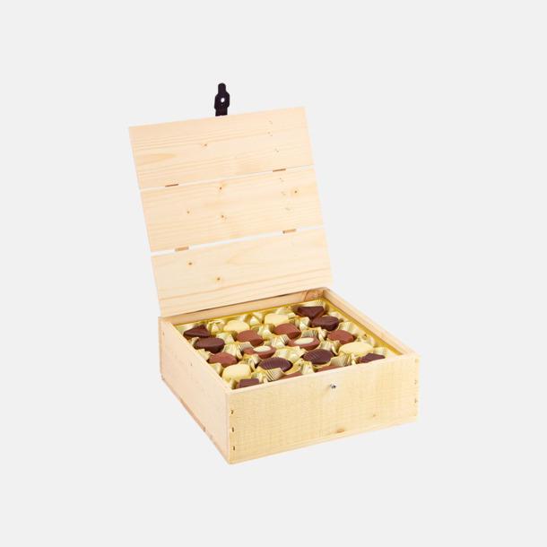 Liten 400 gram Belgiska praliner i trälådor med reklamtryck
