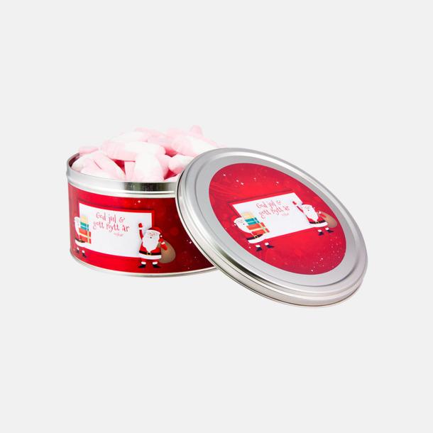 Skumtomtar (Rött standardmotiv) Plåtburk med eget tryck