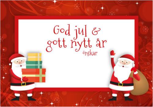 Julkort Röd (se tillval) Julsäckar fyllda med kolor