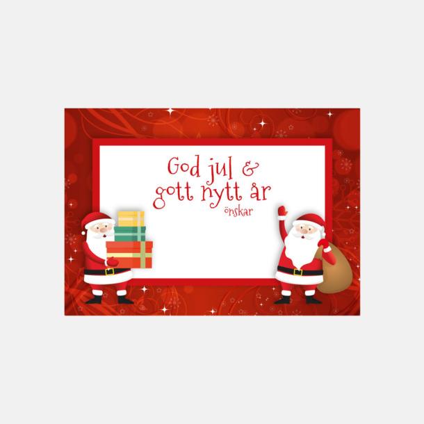 Julkort Röd (se tillval) Belgiska praliner i trälådor med reklamtryck