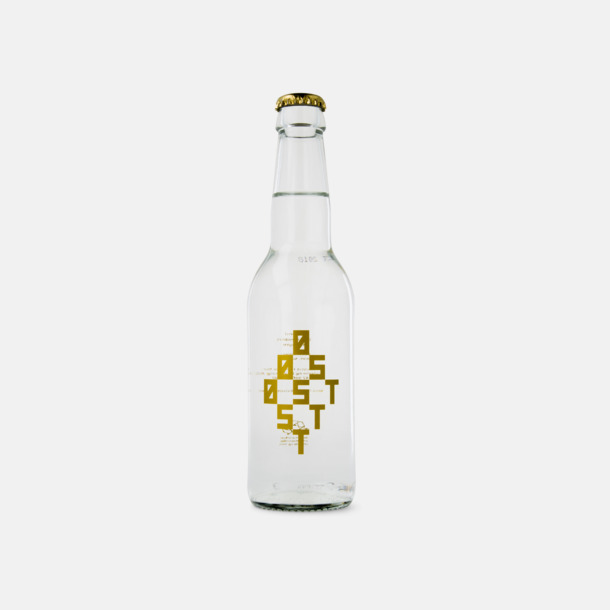 Transparent etikett med metallic tryck (se tillval) Vatten i glasflaska med egen logo