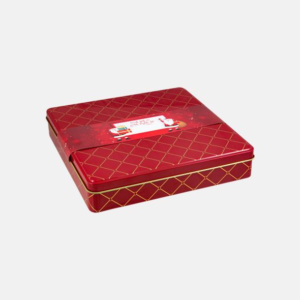 Rött standard tryck etikett Chokladask i metall med eget reklamtryck