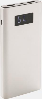 Silver Kraftfulla powerbanks med snabbladdnings-3.0-port - med reklamtryck