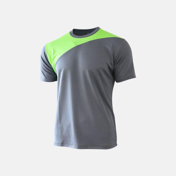 Charcoal/Bright Green 2-färgade funktions t-shirts med reklamtryck