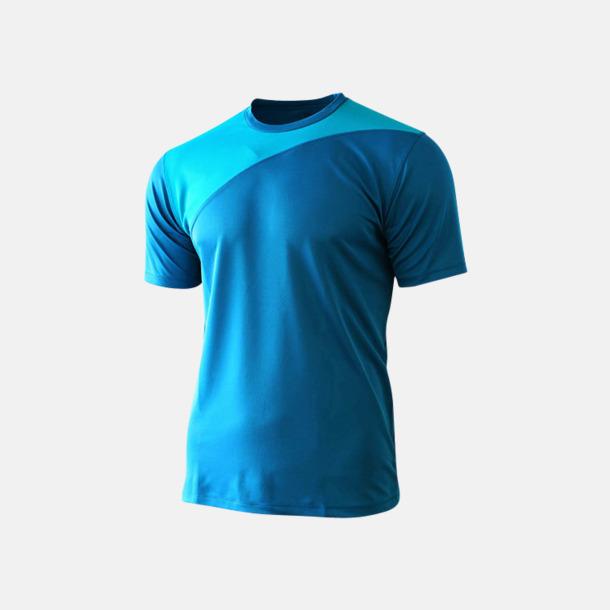Mid Blue/Azure 2-färgade funktions t-shirts med reklamtryck