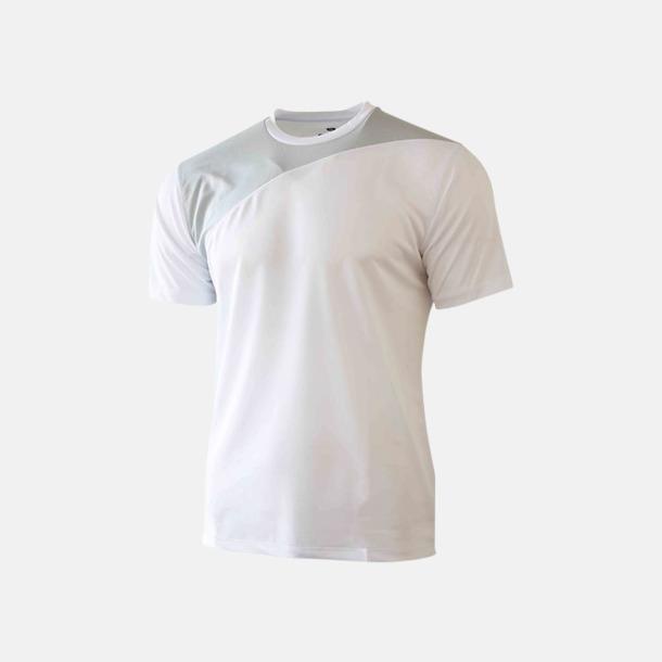 Vit / Ljusgrå 2-färgade funktions t-shirts med reklamtryck
