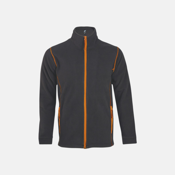 Charcoal Grey (solid)/Orange (herr) Tunna, varma fleecejackor med reklamlogo