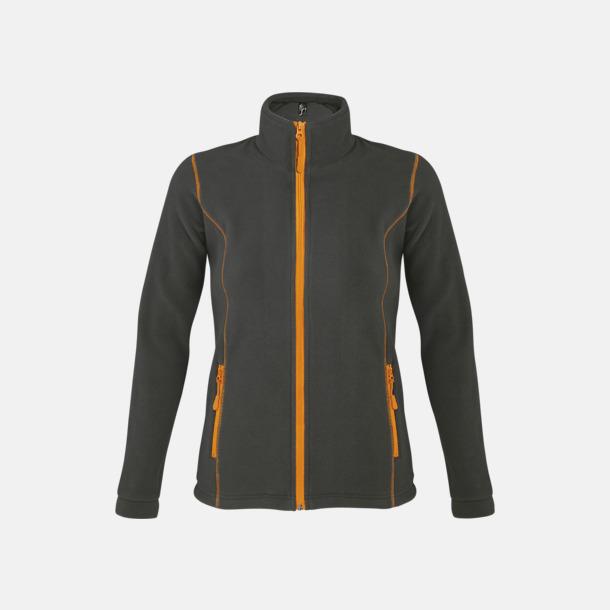 Charcoal Grey (solid)/Orange (dam) Tunna, varma fleecejackor med reklamlogo