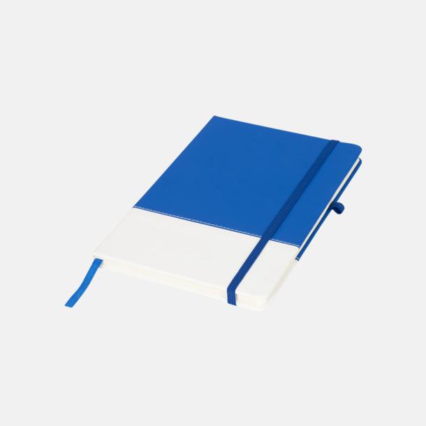 Blå / Vit 2-färgade anteckningsblock i A5-format med reklamtryck