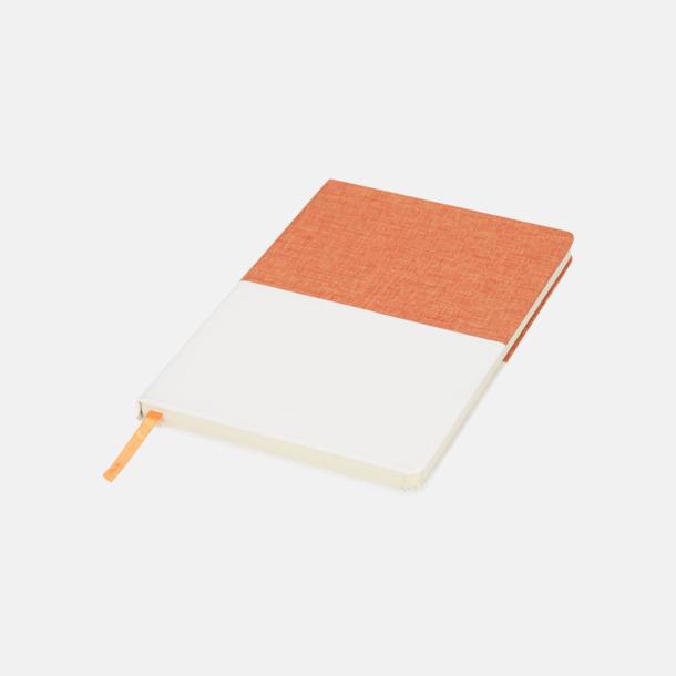 Orange / Vit 2-färgade A5-block med reklamtryck