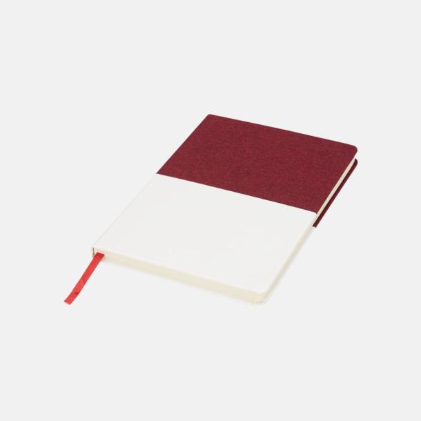 Röd/Vit 2-färgade A5-block med reklamtryck