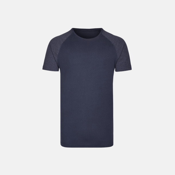 Marinblå/Heather Navy Långa herr t-shirts med reklamtryck