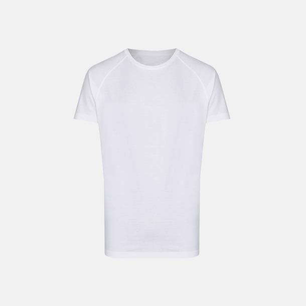 Vit Långa herr t-shirts med reklamtryck