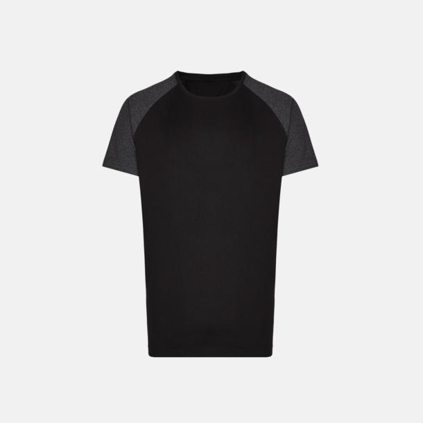 Svart/Heather Black Långa herr t-shirts med reklamtryck