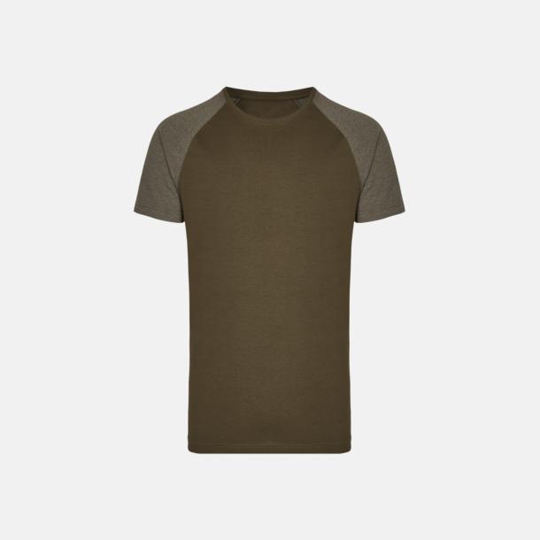 Olive/Heather Olive Långa herr t-shirts med reklamtryck