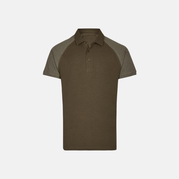Olive/Heather Olive (herr) 2-tonade pikétröjor med reklamtryck