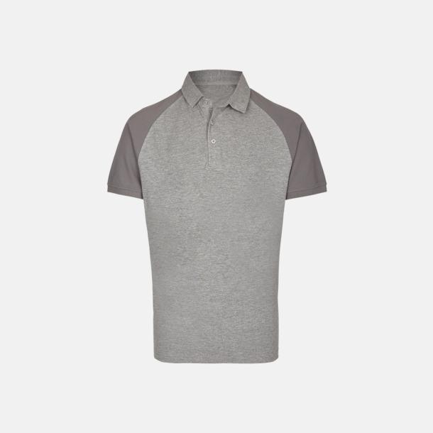 Heather Grey/Grey Solid (herr) 2-tonade pikétröjor med reklamtryck