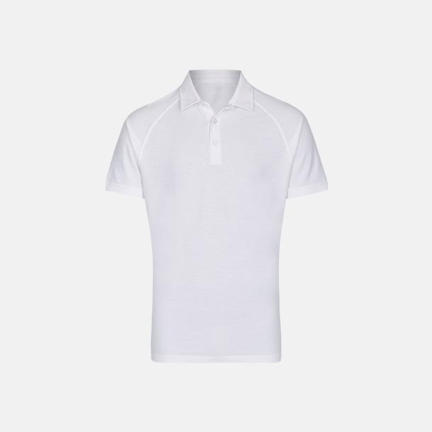Vit (herr) 2-tonade pikétröjor med reklamtryck