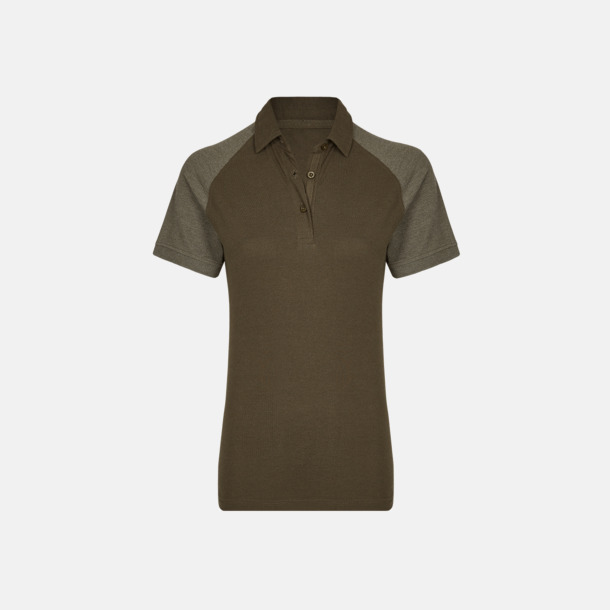 Olive/Heather Olive (dam) 2-tonade pikétröjor med reklamtryck