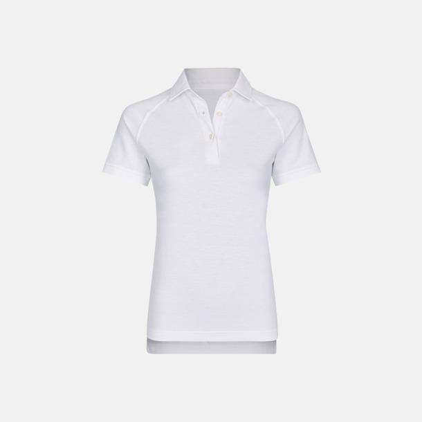 Vit (dam) 2-tonade pikétröjor med reklamtryck